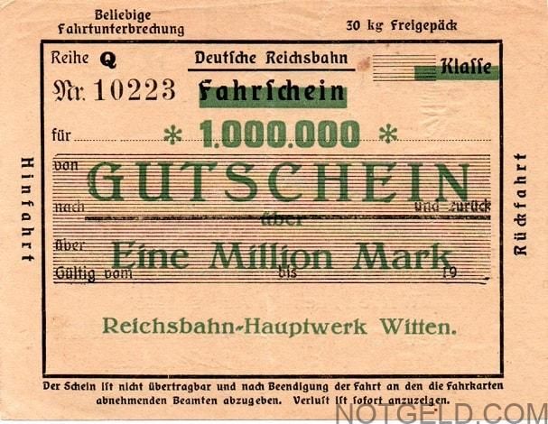 Witten railwayticket1million