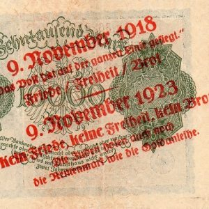 Reichsbanknote anti-semitic and political propaganda overprints